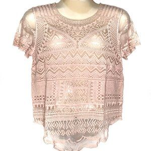 Cato Pink Mesh Short Sleeve Scoop Neck Top Size L